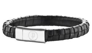 Police Men's Connector Black Leather Bracelet Steel Buckle 25689BLB/01-L
