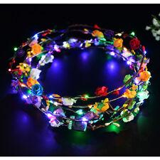 Wedding Xmas Party Women Lady LED Light Up Flower Headband Hair Wreath Garland