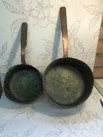 X2 antique/vintage Copper Saucepans Country Kitchen Decor Collectable Farmhouse