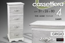 CASSETTIERA H80*31*26 LEGNO 4 CASSETTI SHABBY CHIC GRIGIO ARGENTO BIANCO 641848