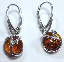 Amber round drop earrings, solid Sterling Silver, Cognac, Lever Fit, uk seller.