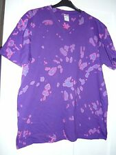 BNWOT unique OOAK tie dye v neck tee shirt 2XL in purples and pinks