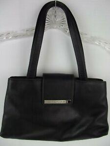 Authentic BVLGARI Black Soft Leather Handbag Shoulder Bag