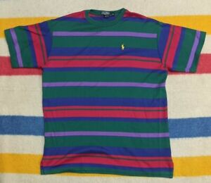 VTG 80s Polo Ralph Lauren USA Green Label Multicolor Striped T-Shirt XL
