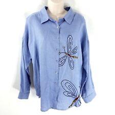 Michael Simon XL Linen Tunic Button Down Shirt Blue Beaded Butterfly Tie Back
