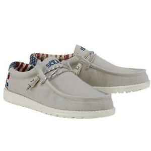 US Men's Size 9 Hey Dude Wally Patriotic American Flag Off White Shoes