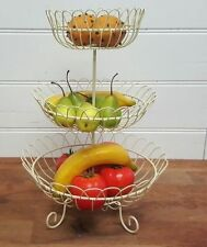3 Tier Cream White French Provincial Wrought Iron Fruit Vegetable Basket Stand