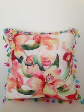 Watercolour Roses Floral Tassel Fringe Suede Velvet Look Soft Cushion Cover18""