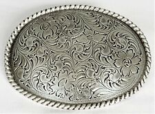 NOCONA BELT BUCKLES Floral Scroll Rope Edge Antique Silver Oval Western NWT Box!