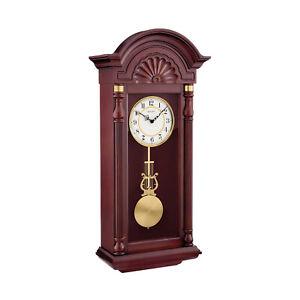 Bulova New Yorker Chiming Pendulum Arabic Numerals Clock, Mahogany (Open Box)