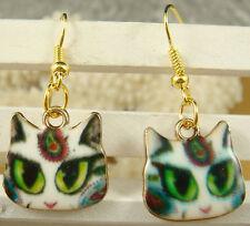 Fun New Fashion Jewelry Gold Kitten Cat Enamel Charm Hook Dangle Drop Earrings