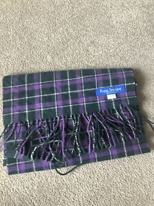 Royal Speyside 90% Merino Wool & 10% Cashmere Purple & Green Tartan Scarf Vgc