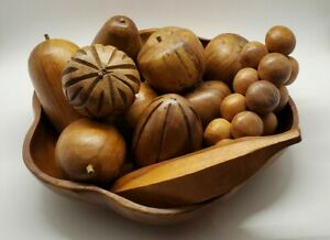 Wooden Fruit and Bowl 12 Pieces and Bowl Mid Century Modern Decor