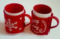 Set Of 2 St Nicholas Square Mugs With Removable Cover Cozy NEW