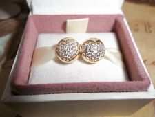Genuine Authentic Pandora 14ct Gold Pave Heart Clip Charms PAIR 750832CZ