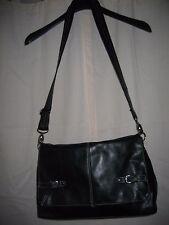 Mens Tommy Hilfiger Black Leather Flapped Morgan Messenger Bag