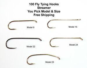 100 Fly Tying Hooks Streamer / Nymph - Pick Model & Size