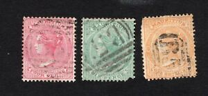 Mauritius 1863-72 3 stamps SG#62+65+70 used CV=31$