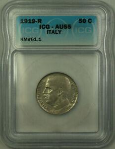 1919-R Italy Nickel 50 Centesimi ICG AU-55 KM#61.1