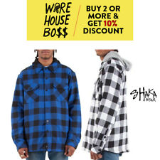 MENS HEAVYWEIGHT FLANNEL JACKET HOODED CASUAL PLAID FLEECE JACKETS BIG AND TALL