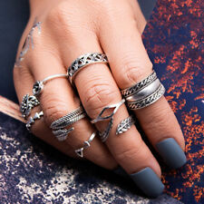 10pcs Vintage Boho Rings Tribal Ethnic Midi Knuckle Stacking  Punk Ring Set