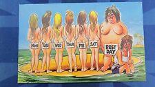 Risque Bamforth Comic Postcard 1970s Nude Nudist Beach Blonde Calendar WEEK DAYS