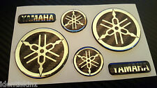 DOMED YAMAHA BIKE ROUNDAL STICKERS DECAL SILVER / CARBON FULL KIT FORKS / TANK