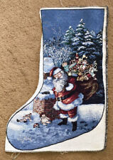 Santa on Chimney Christmas Tapestry Stocking Fabric Piece