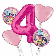 My Little Pony 4th Birthday Balloon Bouquet - 5 Foil Helium Balloons