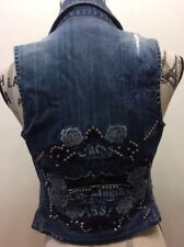 Guess Denim Embroidered Bejewelled Metal Studs Women Vest XS Stretch Sexy
