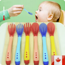Baby Safety Silicone Temperature Sensing Spoon and Fork Feeding Flatware