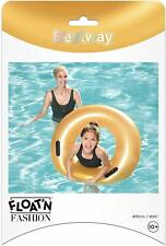 """Bestway 36"""" Gold Inflatable Swim Ring Pool Float Fun Kids Adult Holiday Summer"""