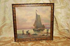 Antique Gilt Framed J.T. Fobain Oil on Canvas - Maritime Harbor Scene & Ship