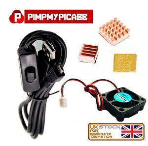 5v Fan 3 Premium Copper Heatsinks Black USB On Off Power lead for Raspberry Pi 3