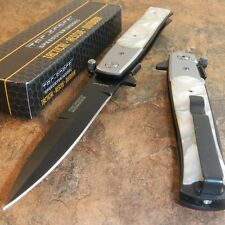 TAC-FORCE Spring Assisted Opening WHITE PEARL Folding Pocket Knife NEW