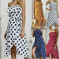 Women's Sexy Wrap Ruffle Polka Dot Strappy Dresses Ladies Summer Holiday Dress