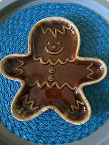 Hull Pottery Gingerbread Man Cookie Tray Drip Brown Glaze Vintage