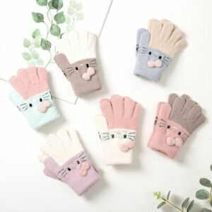 Gloves For Children Kids Warm Winter Autumn Fashion Kitty Baby Girl Beautifull