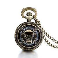 Antique Bronze Pirate Skulll Anime One Piece Quartz Pocket Watch Necklace