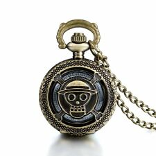 Antique Bronze Pirate Skulll Anime One Piece Quartz Pocket Watch Necklace