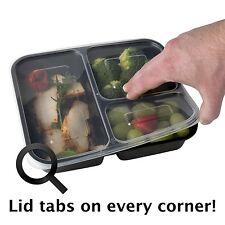 3 compartimiento de alimentos contenedores con tapas para comida preparación para el almacenamiento de alimentos, Reutilizable 10pk