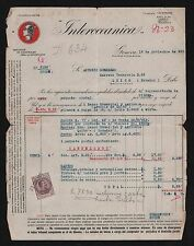 ITALY 1925-1934 FISCAL COVERS X 5 INVOICES GENOVA VENEGONO 4 DIFFERENT REVENUES