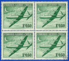 CHILE, AIR PLANE, AIR MAIL, BLOCK OF FOUR, MNH, YEAR 1961-1967, NO WATERMARK