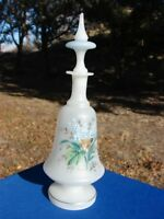 Victorian FRENCH Opaline GLASS Decanter BOTTLE Antique VTG PAINTED Flowers