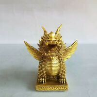 China Fengshui Brass Lucky fly qilin Auspicious Beast kylin Statue Decor dragon