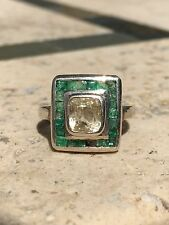 2 Carat Yellow Square mine Cut Sapphire ring with square cut emerald surround 6