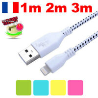 CABLE POUR IPHONE 7 6 5 SE PLUS IPOD IPAD CHARGEUR USB RENFORCÉ 1M 2M 3M LOT