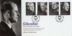 Gibraltar 2021 FDC Royalty Stamps Prince Philip 100th Birth Anniv 4v Set