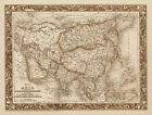 "Vintage Old Map of Asia 1850's colton CANVAS PRINT 24""X16"""
