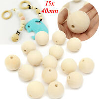 15Pcs 40mm Wooden Round Big Large Wood Ball Beads Unpainted Unfinished